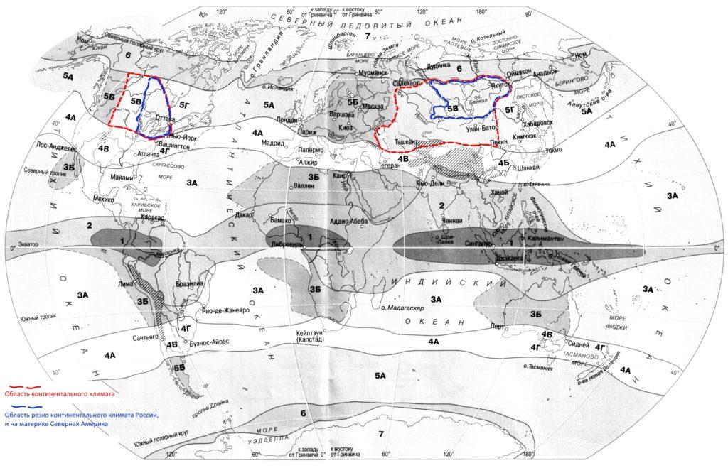Резко континентальный климат карта