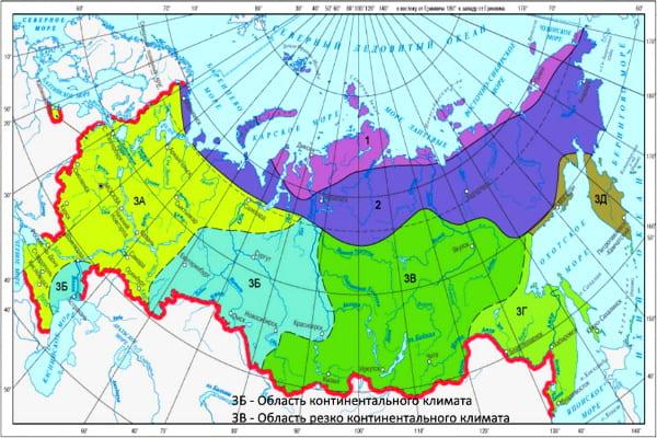 Резко континентальный климат в России на карте